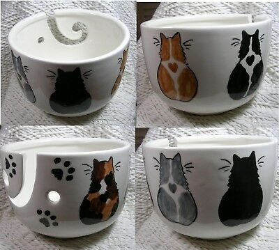 5 Cats On A Knitting Bowl Yarn Bowl Crochet Bowl Handmade Ceramic By Grace Smith