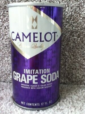 Camelot Grape Soda (1975) Straight steel, pull top. No bar code or ml listed