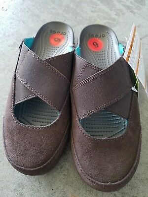 71fa7a7b76043 NWT CROCS EDIE Women s Mules Brown (Mahogany) Suede Upper SELECT SIZE -   29.69