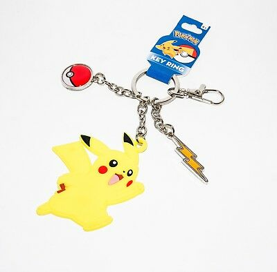 Pikachu Pokemon Key Chain - Officially Licensed - Pokeball Lightning