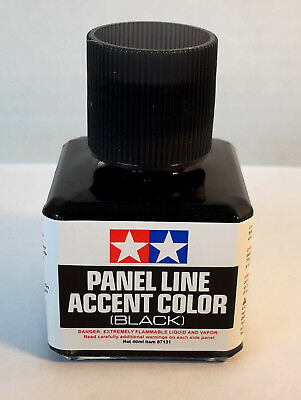 Tamiya 87131 Panel Line Accent Color 'BLACK' W/ Fine Brush 40ml Bottle