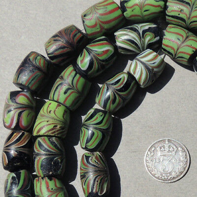 29.5 inch strand old antique venetian fancy feather beads african trade #1631