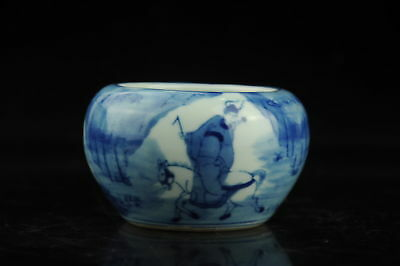 china old Blue and White porcelain Hand painted figure pen wash /guangxu mark