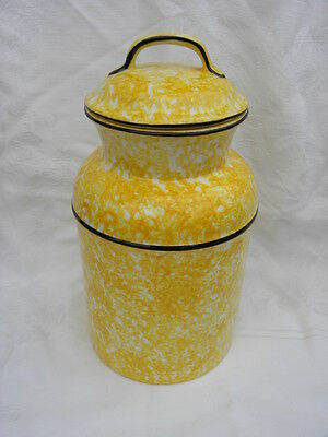 Vintage Stangl Town & Country Yellow Spongeware Large Milk Can Shaped Canister