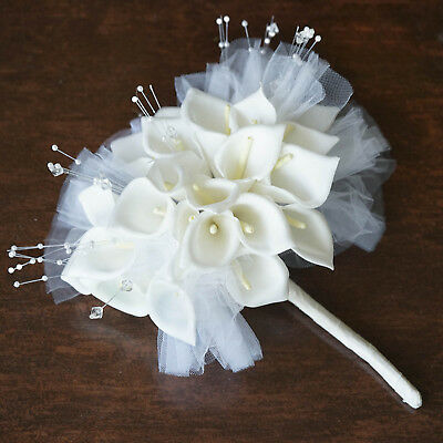 WHITE LILY BOUQUET Flowers Hand-crafted Wedding Party Centerpieces Decor SALE