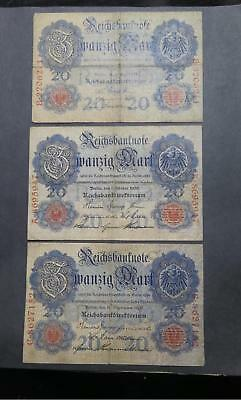 Germany Imperial 1910 1914 20 Mark Banknote Currency Collection Lot P-40 & 46