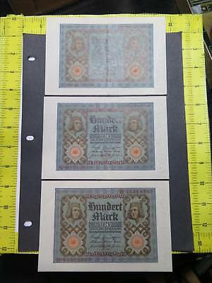3- Germany Weimar Rep 1920 100 Mark World Banknote Currency Collection P69 A&b
