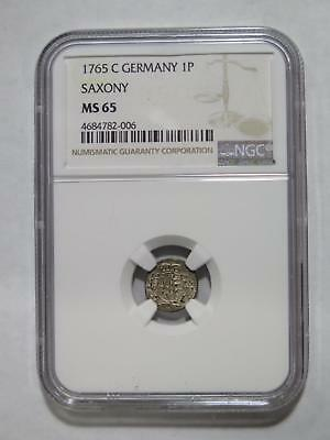 Germany Saxony 1765C 1 Pfennig Ngc Graded Ms65 Gem World Coin Collection Lot