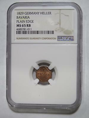 Germany Bavaria 1829 Heller Ngc Graded Ms65 World Coin Collection Lot