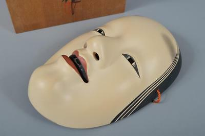 K7799: Japanese Pottery Woman MASK Noh mask Kagura, auto w/signed box