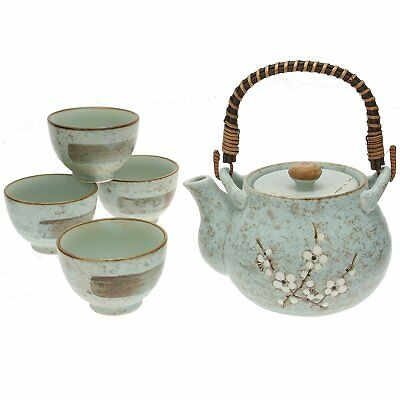 5 PCS. Japanese Porcelain Tea Pot Cup Set Grey Ume Cherry Blossom, Made in Japan