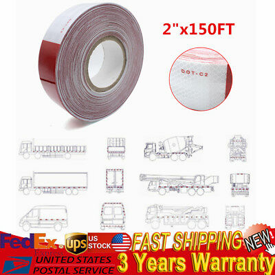 "2""x150' DOT-C2 Reflective Red and White Conspicuity Safety Tape Trailer 1 Roll"
