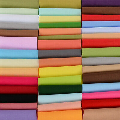 Plain Solid Cotton Fabric Quilting Sewing DIY Crafts Patchwork Lot 50 Color