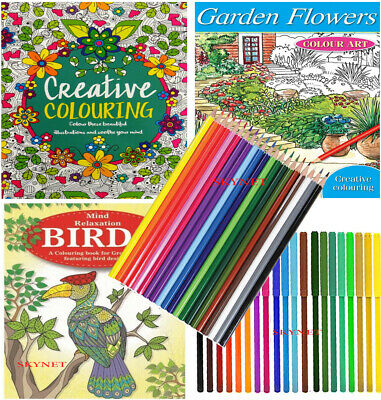 3 x Anti-Stress Adult Colour Therapy Colouring Books + 20 felt tips + 20 Pencils