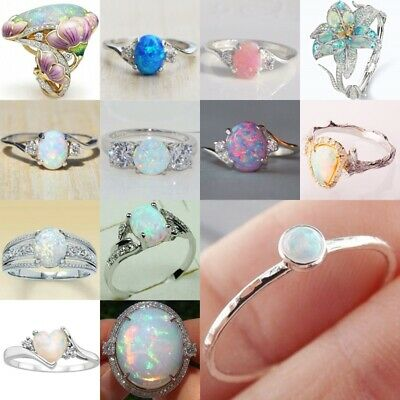 925 Silver White Fire Opal CZ Simple Ring Wedding Proposal Women Jewelry Party