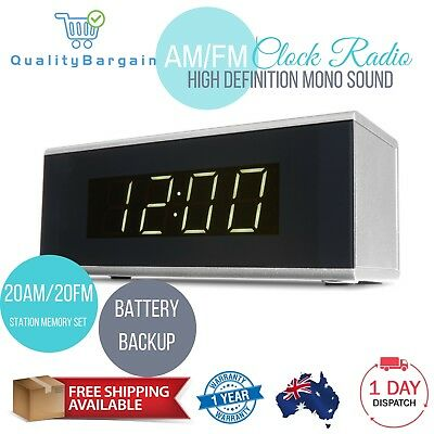 Digital Clock Radio Silver 20 Stations AM/FM Snooze Sleep Function Dual Alarm AU