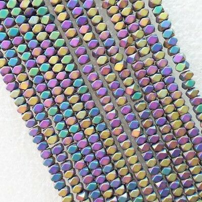 Faceted 3x2mm Multicolor Hematite Gemstone loose bead 15.5 inch R4309
