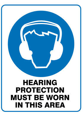 Poly Prop Mandatory Safety Sign 300 x 225mm Hearing Protection must be Worn