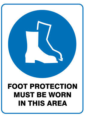Poly Prop Mandatory Safety Sign 300 x 225mm  Foot Protection must be Worn