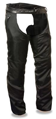 Milwaukee Mens Vented Textile Chaps w/Leather Trim & Snap-Out Liner Black