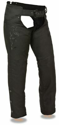 Milwaukee Womens Textile Chaps Tribal Embroidery & Reflective Detail Black