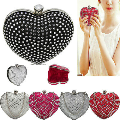 Womens Diamante Hardcase Heart Clutch Bag Ladies Evening Prom Party UK Purse New