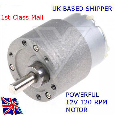 12v REVERSIBLE - DC Motor 120 RPM - 37mm High Torque Gear Box - Available in UK