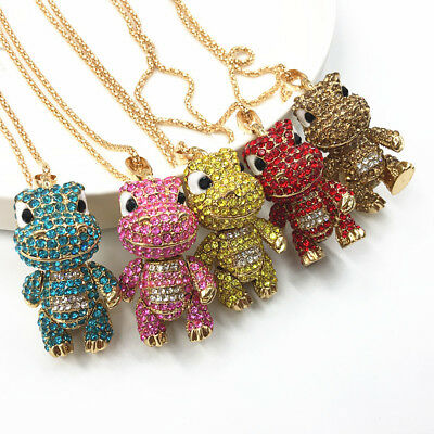 Gold Plated Rhinestone Lovely 3D Baby Dinosaur Pendant Chain Sweater Necklace