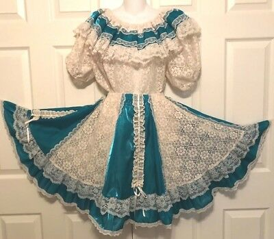 "Square Dance Dress 2 Pc ""pitchfork"" Fancy Turquoise Lame' And Lots Of Lace M"
