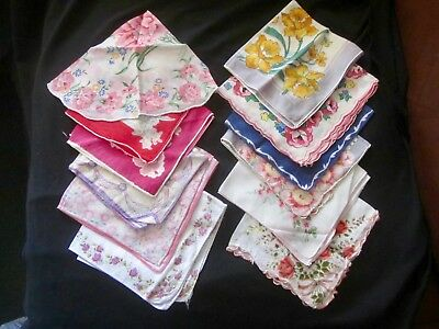 Lot of 12 Vintage FLORAL Hankies, One ROUND