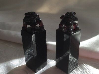 Pair of 19th century Chinese Amethyst Glass Seals carved with buddhistic lions