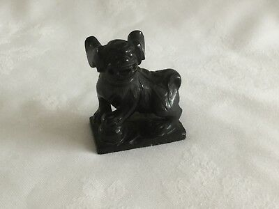 19th century Chinese Black Stone Carved Buddhistic Lion