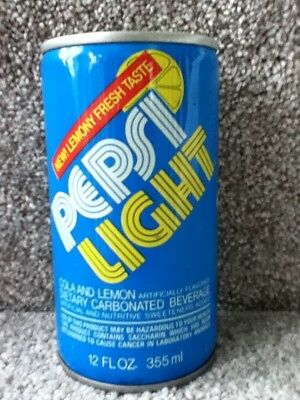 "Pepsi Light ""New!Lemony fresh taste"" crimped steel,pull top."
