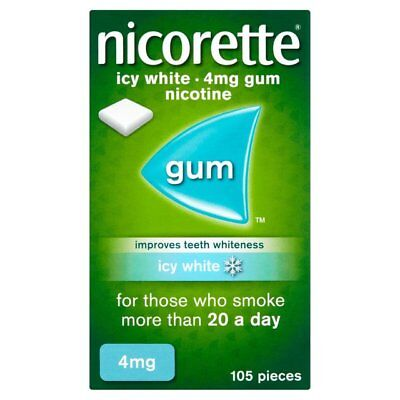 nicorette 4mg nicotine gum in icy white - 105 pieces