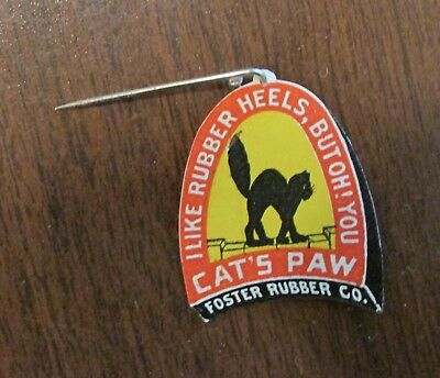 Vintage Celluloid Advertising Stickpin Cats Paw Rubber Heels Halloween Black Cat