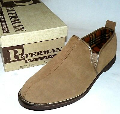 60s 70s vtg NOS Peterman Slippers house shoes rich man playboy smoking jacket 10