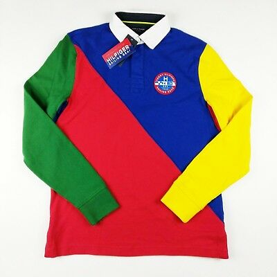 fc398ddf654 NWT Men's Tommy Hilfiger Sailing Gear Colorblock Long-Sleeve Rugby Polo  Large