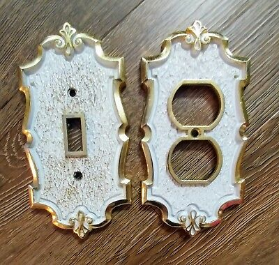 Vintage Metal white gold light switch plate and outlet cover french scroll style