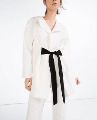 NWT Zara Basic White Jacket Coat S Black Tie Belt Cotton Lined Formal Wrinkle