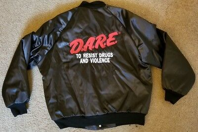 Vintage D.A.R.E. Dare To Keep Kids off Drugs Satin Jacket West Ark Large L