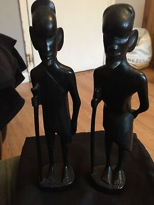 Pair Vintage Ebony Figures Male Standing 27cm tall