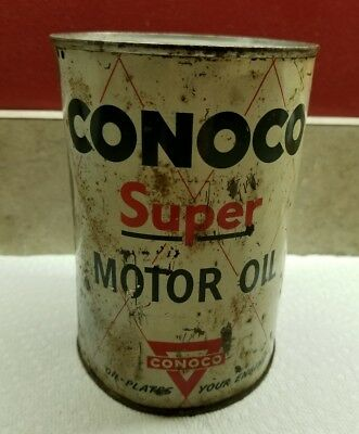 Vtg 1 qt CONOCO Super Motor OIL Tin CAN Gas Service Station Advertising - Empty