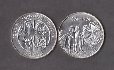 ICELAND Nice commemorative coin 1000 kronur 1974 UNC 0.925 silver