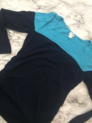 Motherhood Maternity Long Sleeve Blue Color Block Lightweight Sweater Size L