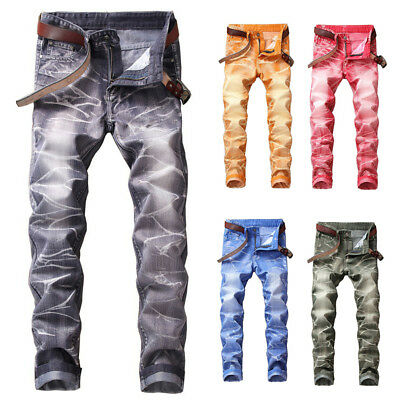 Stylish Men Denim Jeans Stretch Slim Fit Pants Skinny Straight Leg Trousers