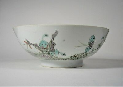 Antique Chinese Porcelain Hand Painted Footed Bowl ~ Signed