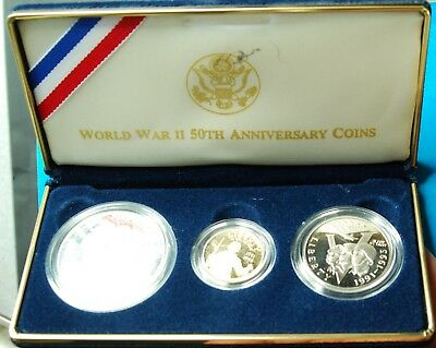 World War II 50th Anniversary Proof 3 Coin Gold and Silver Set, COA, 1991-1995