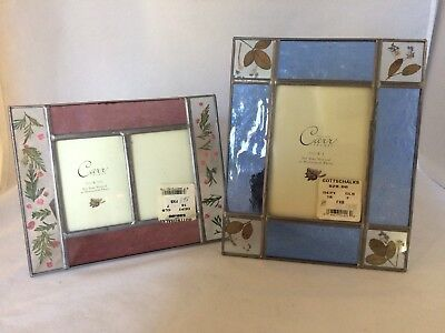 "Leaded glass art glass picture Frames: 5"" X 3 1/2"" photo; Double 2 1/2"" X 3 1/2"""