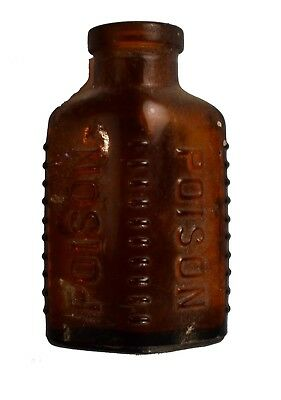 """*Antique Amber Miniature Oval Shaped Glass Ribbed Poison Bottle:   2-3/4 """" Tall"""