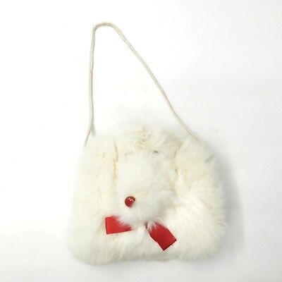 Vintage Child's Girl's 1950's Hand Muff Warmer Dog Face White Rabbit Fur Red Bow